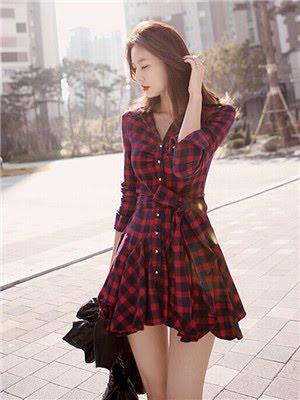 Order#D0002 气质红格子连衣裙