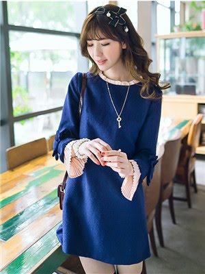 Order#D0003 蓝色长袖毛呢连衣裙