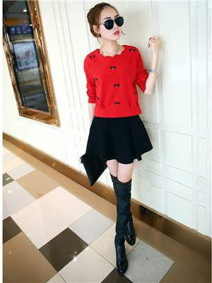 Order#D0005 红上衣春装+百褶裙裙